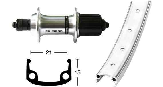 Bike-Parts Rueda trasera - 26x1.9 TX800 8/10s QR 36L Plateado